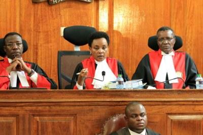 Supreme Court Judges from left: Smokin Wanjala, Deputy Chief Justice Philomena Mwilu, and Chief Justice David Maraga at Supreme Court (file photo).