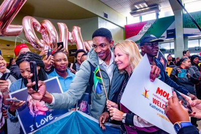 The Bold and the Beautiful actress Katherine Kelly Lang arriving in South Africa.