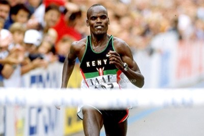 The late Major Paul Koech on his way to winning the 1998 IAAF World Half Marathon Championships title.