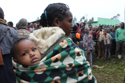 Families who have fled fighting in Ethiopia are living in dire conditions.