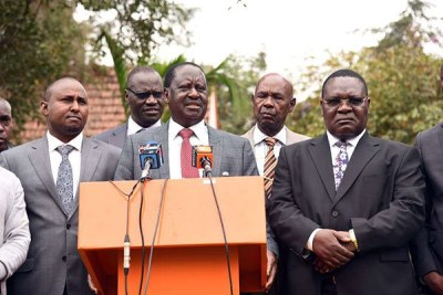 ODM party leader Raila Odinga addresses a press conference at Orange House in Nairobi on August 8, 2018, where he endorsed Ochillo Ayacko's candidature for the Migori senatorial seat.