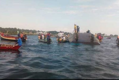 The capsized ferry on Lake Victoria.