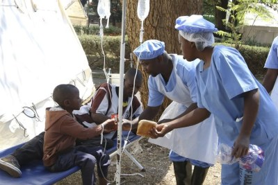 Cholera treatment in Zimbabwe.