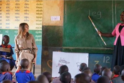 Melania Trump in a classroom during an English lesson.