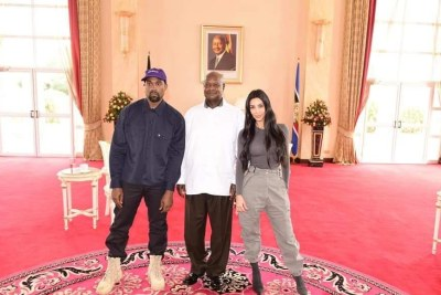 Kanye West and Kim Kardashian met President Museveni at his residence