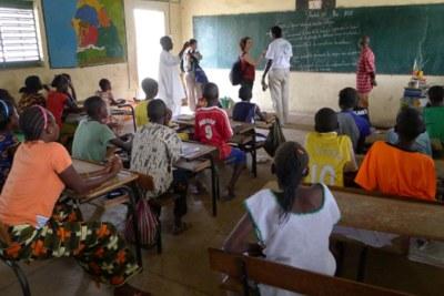 Une salle de classe au Sénégal.
