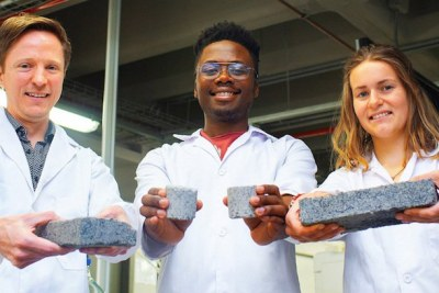 The world's first bio-brick made using human urine was unveiled at UCT. In picture are (from left) the Department of Civil Engineering's Dr Dyllon Randall and his students, Vukheta Mukhari and Suzanne Lambert.