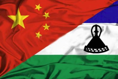 Composite image of the flags of China and Lesotho.