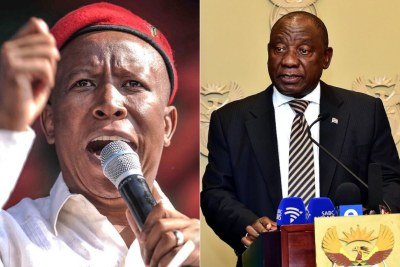 President Cyril Ramaphosa and EFF leader Julius Malema.
