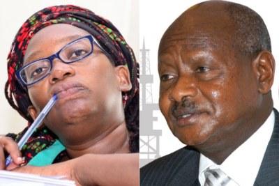 L'activiste ougandaise Stella Nyanzi et le président Yoweri Museveni.