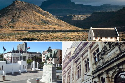 Top: Farmhouse in the Free State. Bottom-left: National Assembly building. Bottom-right: Exterior of the Western Cape High Court.