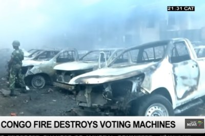 A major fire destroyed an election warehouse in Kinshasa.