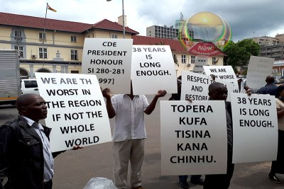 War vets picket Emmerson Mnangagwa office over unpaid pensions (file photo).