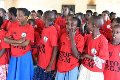 Pupils who underwent an alternative rite of passage in August 2018 at Eselengei Girls' Secondary School in Narok as parts of efforts against FGM