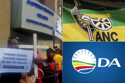 Left: Angry families protest over Life Esidimeni deaths scandal outside the Gauteng health department offices in Johannesburg (file photo). Top-right: African National Congress flag. Bottom-right: Democratic Alliance flag.
