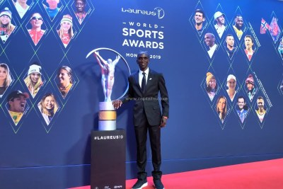 Eliud Kipchoge at the 2019 Laureus Sports Awards in Monaco on February 18, 2019.