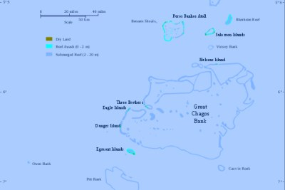 Map of the Chagos Archipelago in Mauritius