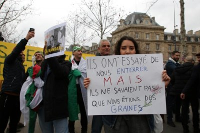 Algerians protest at Paris' 'Place de la Republique' against a fifth mandate by octagenarian President Bouteflika