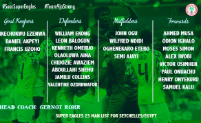 Nigerian Coach Calls Up 23 Players for Seychelles, Egypt