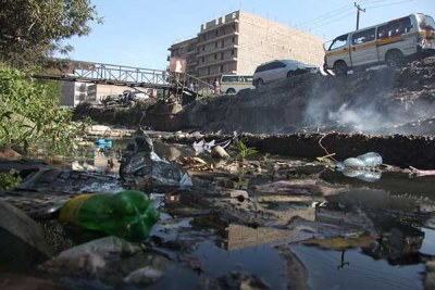 Garbage floats in Nairobi River on February 2, 2019.