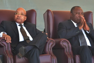 Then President Jacob Zuma, left, with then Deputy President Cyril Ramaphosa during a 2015 Women's Day celebration in Sasolburg in the Free State.