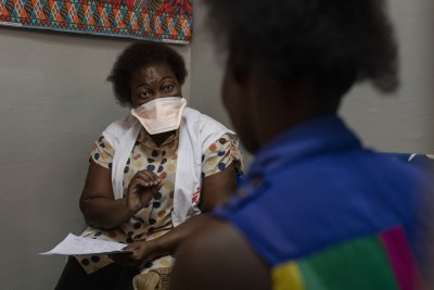 A consultation with an HIV-positive patient, the first day of the full re-opening of MSF's HIV programme in the Munhava health centre after Cyclone Idai struck Beira.