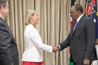 The European Union Mission High Representative Foreign Affairs and Security Policy, Federica Mogherini with President Uhuru Kenyatta.