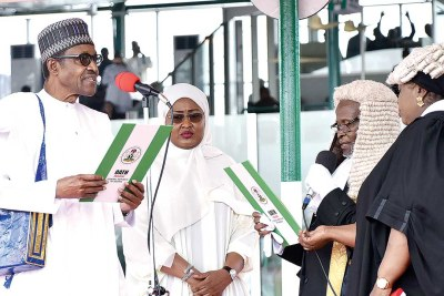President Muhammadu Buhari and his wife, Aisha during the presidential inauguration at the Eagle Square, Abuja