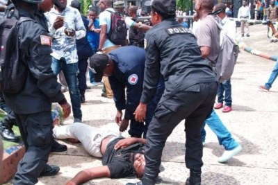Police officers flogged an unarmed civilian until he became unconscious.