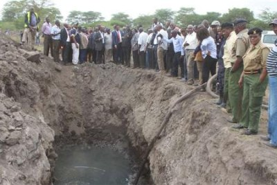 A team led by Petroleum and Mining CS John Munyes during a visit to the Kiboko oil spill site in Makueni County on June 3.