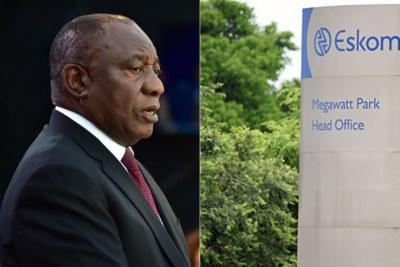 Left: President Ramaphosa. Right: Eskom head office sign.