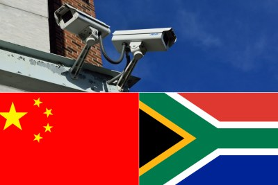 TOP: CCTV cameras. Bottom-left: Chinese flag. Bottom-right: South African flag.