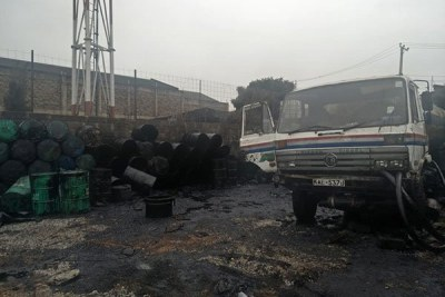 An oil tanker at the Industrial Area yard, Nairobi, where Energy and Petroleum Regulatory Authority officers arrested 16 people who were found adulterating fuel (file photo).