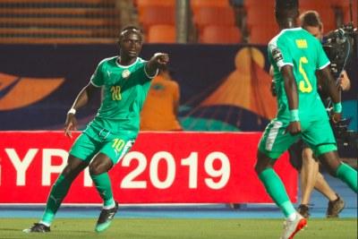 (Photo d'archives) - La stard du Sénégal, Sadio Mané, célébrant son but lors du match contre l'Ouganda - CAN 2019. Il a été déterminant lors de la qualification des Lions de Téranga pour la Qualification de la CAN 2021