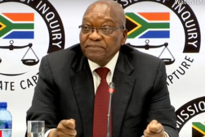 Screenshot of former president Jacob Zuma at the Zondo Commission of Inquiry into State Capture (file photo)