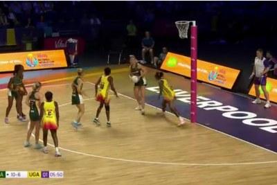 Screenshot of the match between South Africa and Uganda.