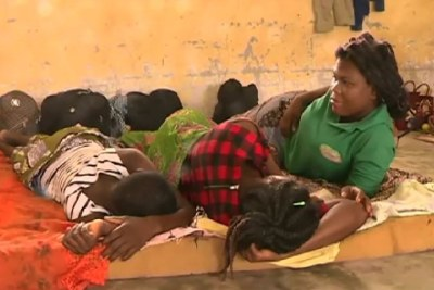 Stranded migrants in Ebodje in Cameroon