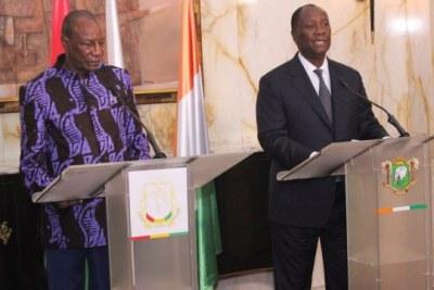 Le président Condé avec son homologue ivoirien Ouattara