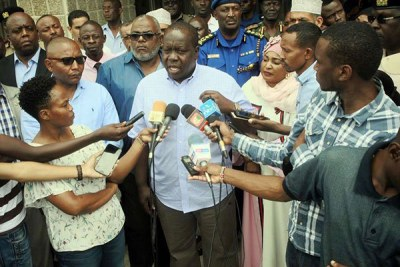 Interior Cabinet Secretary Fred Matiang'i, during a press conference in Mombasa (file photo).