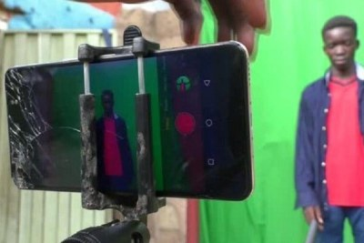 Behind-the-scenes of their film set.