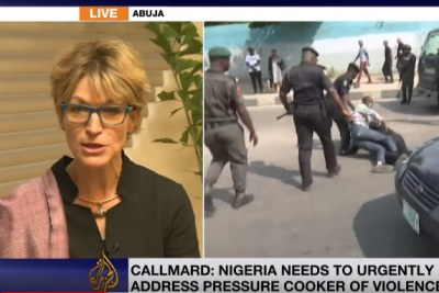The United Nations' special rapporteur on extrajudicial, summary or arbitrary executions Agnes Callamard talks to Al Jazeera after a press conference at the end of a two-week visit to Nigeria.