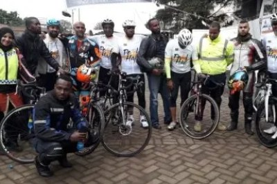 The Kenyan cyclists on the pedal Hajj to Mecca with family and friends in Nairobi before they embarked on the 45-day expedition.