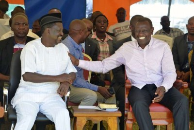 Deputy President William Ruto (right) and ODM leader Raila Odinga during a past event (file photo).