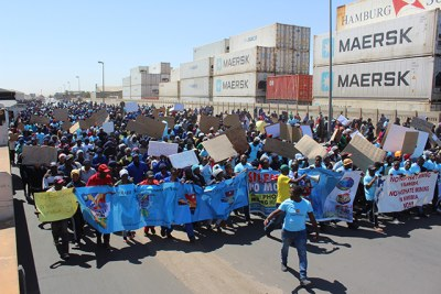 More than 1,000 people participated in the protest at Walvis Bay against marine phosphate mining. Most of those who participated were fishery workers.