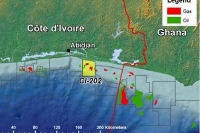 Carte de la frontière entre la cote d'ivoire et le ghana