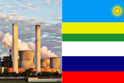 Rwanda flag, top, Russia flag, bottom