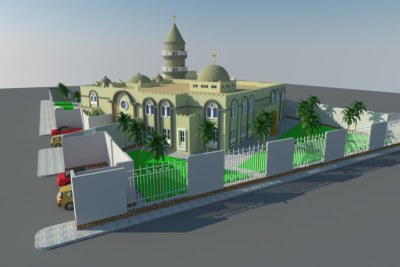 3D model of the Masjid Al Rayan, Djibouti.The initial idea of Masjid Al Rayan came from providing a place for worshipers who had to vacate their original neighbourhood in the old district of the capital. However, thanks to personal interest and generous funding by businessman and philanthropist Mohamed Said Guedi, the scope of the project has only expanded.