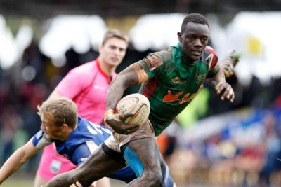 Kenya Morans' Johnstone Olindi evades a tackle during their Tusker Safari 7s semi-final match against Russia Academy RFUEA grounds on October 20, 2019.
