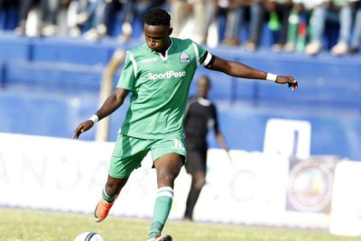 Gor Mahia midfielder Kenneth Muguna in action during their Kenyan Premier League Super Cup match against Bandari at Kenyatta Stadium, Machakos on August 18, 2019.