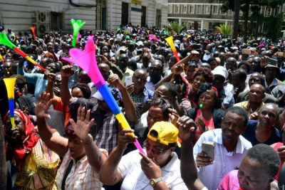 City Hall workers protest outside the Nairobi County headquarters (file photo).